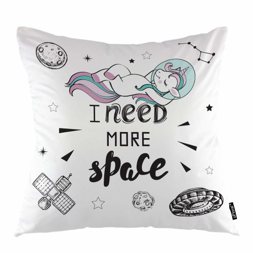 """Melyaxu Unicorn Throw Pillow Cover Cute Pink Hair Girl Unicorn in Space Decorative Square Pillow Case 18""""X18"""" Pillowcase Home Decor for Sofa Bedroom"""