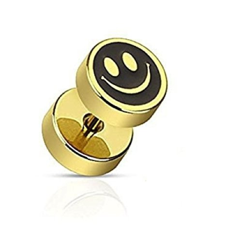 Black and Gold Smiley Face Surgical Steel 1.2mm Thickness Fake ( Faux ) Plug Flesh Tunnel , Can Be Worn In Normal Ear Piercing No Stretching