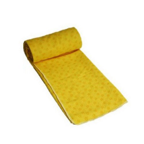 Microfiber Non Skid Yoga Mat Towel 183*61CM Yoga Towel with Mesh Bag, Yellow