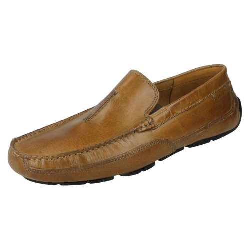 Mens Clarks Slip On Loafers Ashmont Race - Tan Leather - UK Size 8G - EU Size 42 - US Size 9M