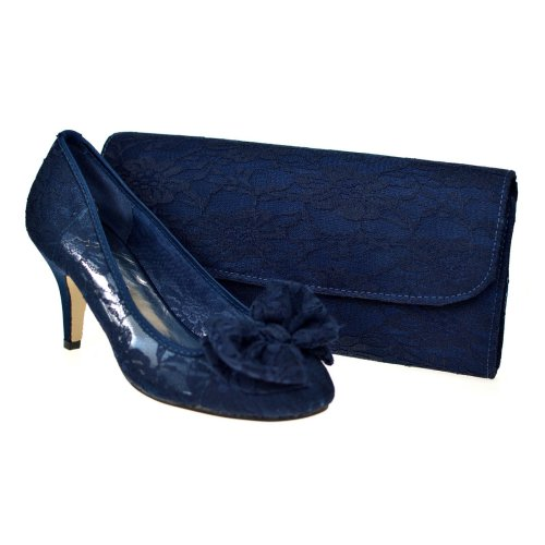 Navy Blue Lace  Mid Heel Evening Court Shoes & Bag