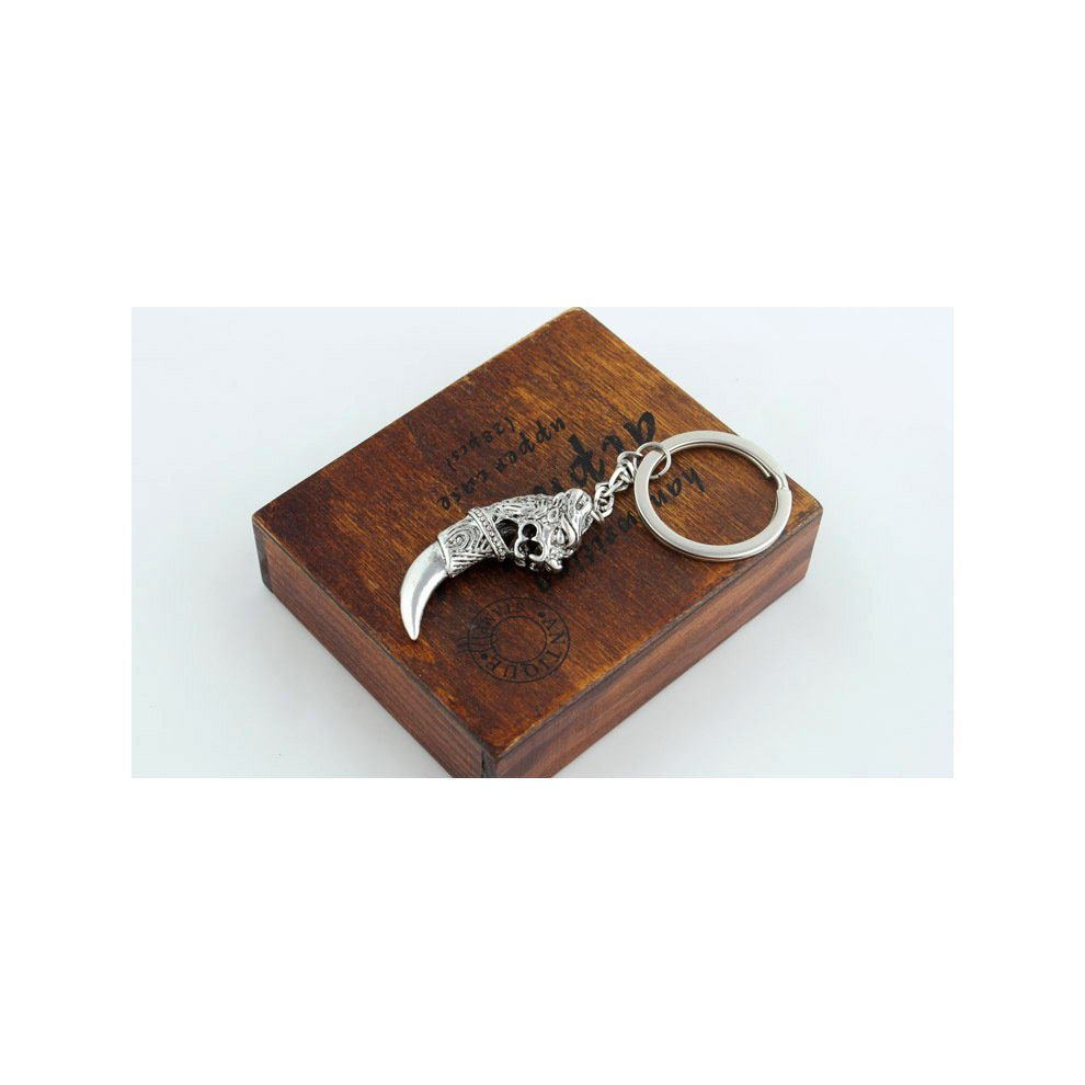 22000813e9 ... Silver Engraved Dragon Head On Tooth Cool Keyrings Novelty Metal Key  Rings For Men Boys ...