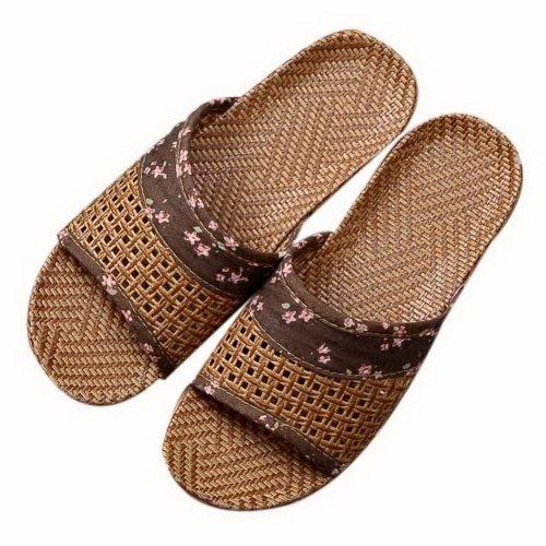 Summer Home Indoor/Outdoor Sandals Thick Bottom Linen Couple Slippers Dark Brown