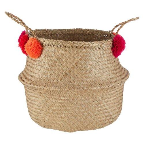 Natural Seagrass Pom Pom Basket, Medium