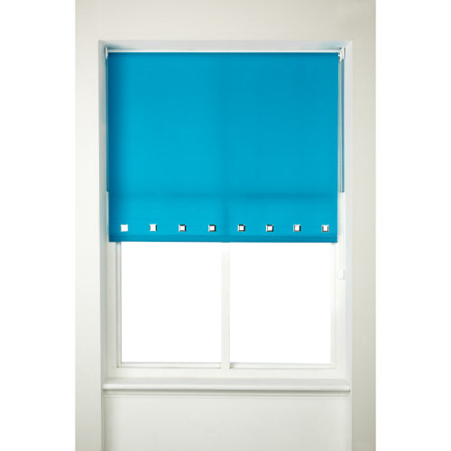 Square Eyelet Window Roller Blinds Furnishing Curtains Teal Color 160cm Drop
