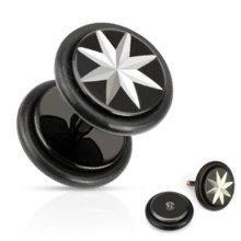 Urban Male Stainless Steel Fake Black Star Ear Stretching Flesh Plug