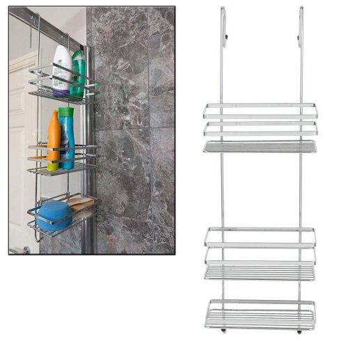 Taylor & Brown Chrome 3 Tier Large Over Door Hanging Bathroom Organiser Shower Rack Storage Caddy