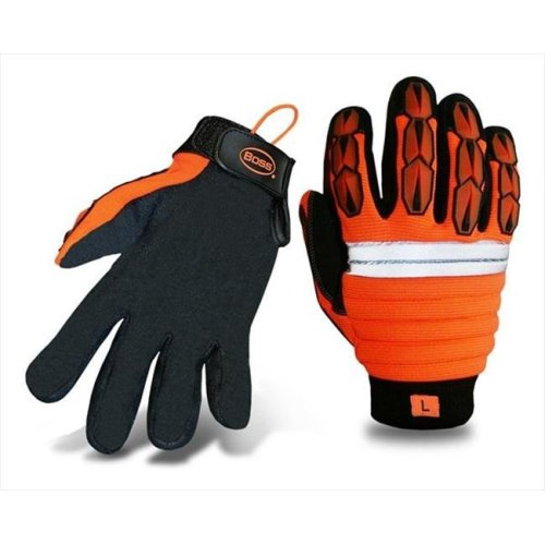 Boss 1JM400L Large Mechanics Style Miner Gloves in High Visibility - Pack of 6