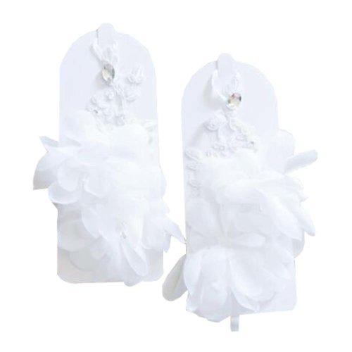 Women's Lace/ Voile Fingerless Wrist Length Short Bridal Gloves - White