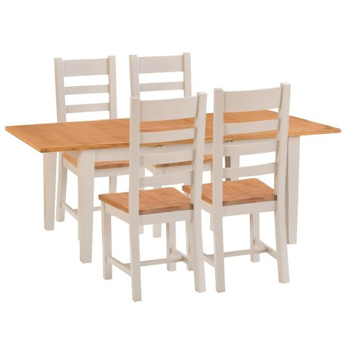 St. Ives Truffle Painted Oak 1.2m Ext. Table & 4 Wooden Seat Chairs