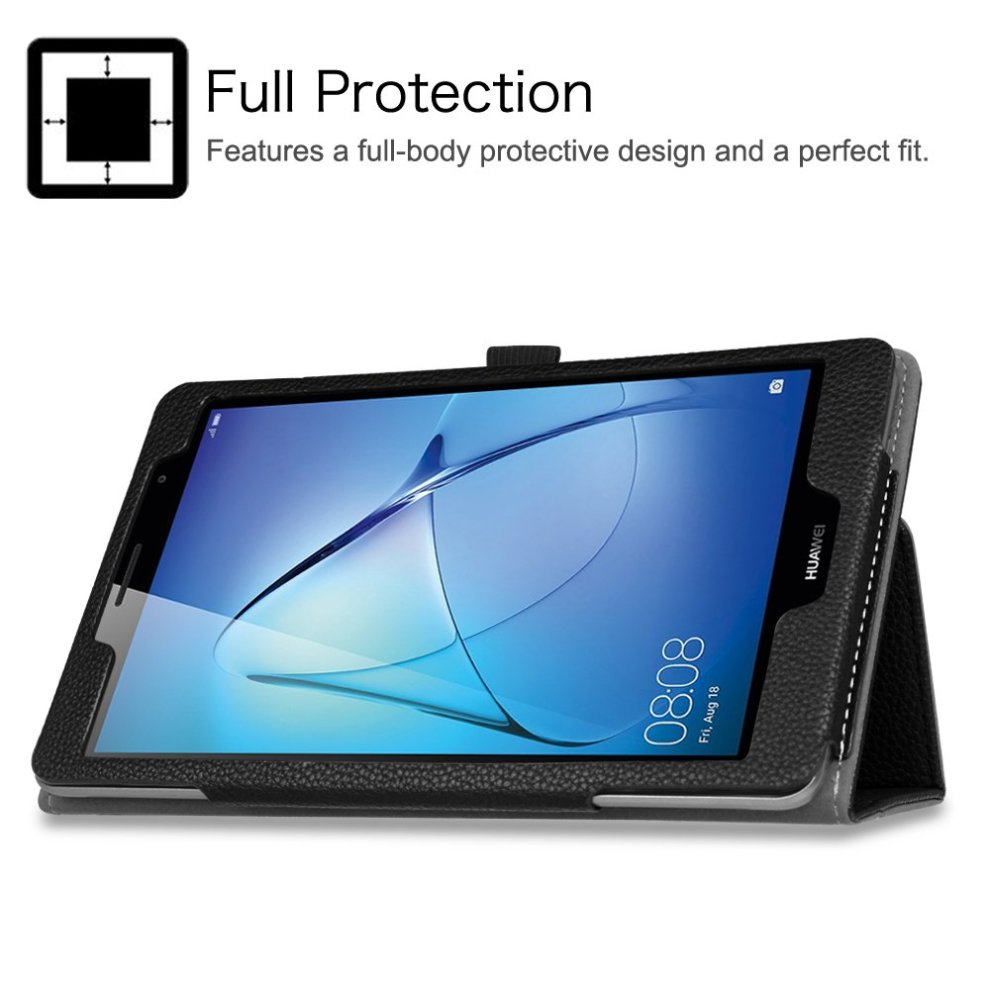 new arrival 01afd 44a66 Huawei MediaPad T3 8 Case - Fintie Premium PU Leather Slim Fit Folio Cover  with Stylus Loop for Huawei MediaPad T3 8-Inch IPS Tablet, Black