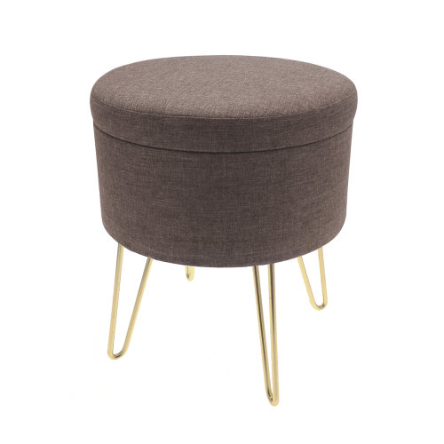Country Club Malmo Storage Stool with Gold Legs, Brown