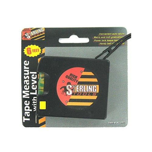 Bulk Buys AC027-72 6' Tape Measure with Level Black - Pack of 72