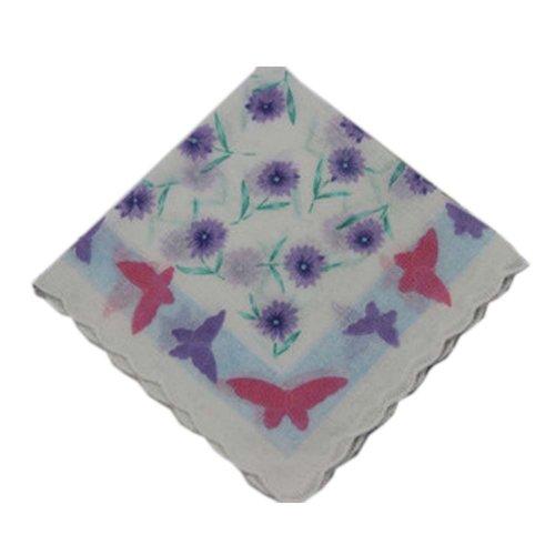 3 Pcs Retro Floral Print Handkerchiefs Ladies Cotton Pocket Handkerchief, #04