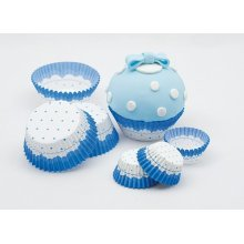 Cake Cups Blue & White Large 75's