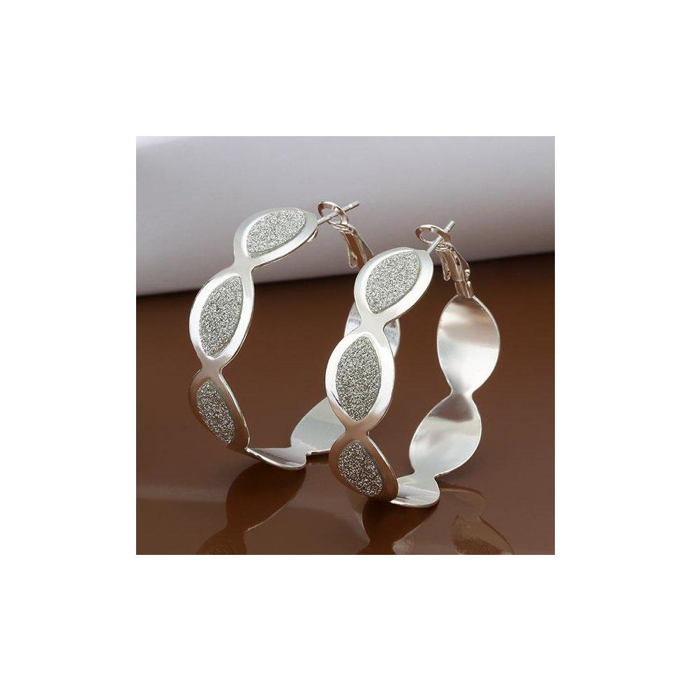 b1a8248bd ... 925 Silver Plated Linked Drop Hoop Earring for Women - 6 ...