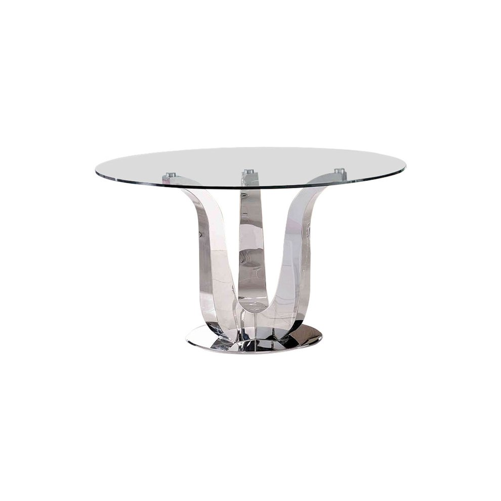 Naples Glass Polished Steel Dining Table Glass Top Kitchen