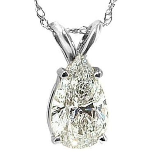 1.25 Cts. G Si1 Diamond Pear Cut Pendant Necklace Gold