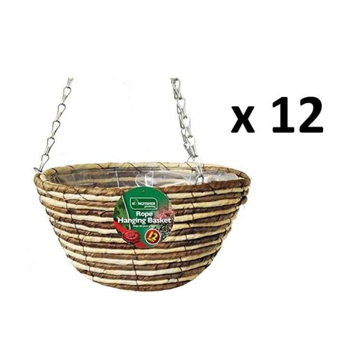 12 X Kingfisher Hb12Rr 12-Inch/30  cm Rope Hanging Basket - Beige