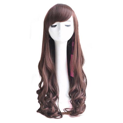 Light Brown Long Curly Wavy Glamour Hair Wig Fashion Bob + Wig Cap + Wig Comb