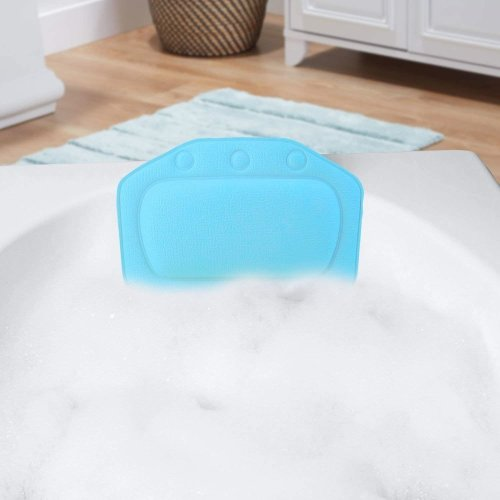 Taylor & Brown Relaxing Bath Pillow with Strong Suction Cups Spa Headrest Waterproof Cushion for Bathtub Bathroom (Aqua Blue)