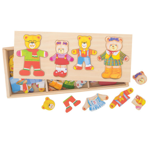 Bigjigs Toys Wooden Bear Family Dress-Up Puzzle with Storage Box