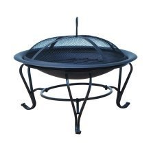 Outsunny Outdoor Metal Fire Pit Round W/ Poker