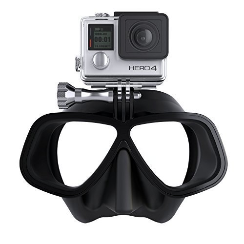 OCTOMASK Freediver Edition GoPro Hero4 Compatible Dive Mask for Scuba and Snorkeling Black