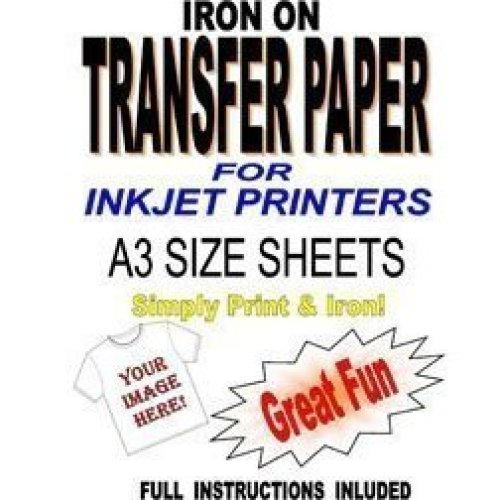 graphic relating to Printable Iron on Fabric known as Inkjet Printable Iron Upon T Blouse Cloth Shift Paper For Mild Materials 10 A3 Sheets