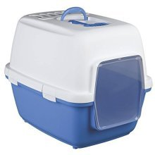 Trixie Xavi Litter Tray With Domfor Cat, 45 x 48 x 58 Cm, Blue/white - -  trixie xavi litter tray bluewhite domfor cat 45 48 58 cm