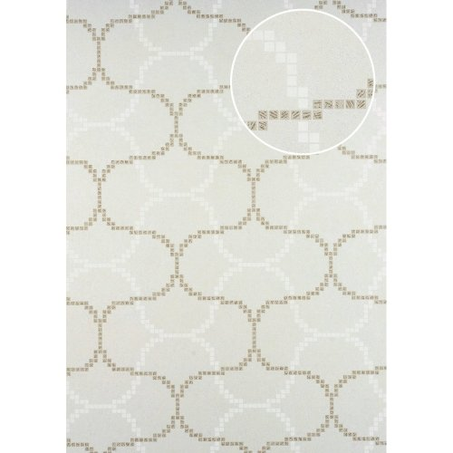 ATLAS HER-5132-1 Graphic wallpaper shimmering cream oyster white 7.035 sqm