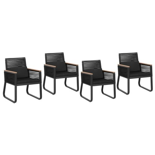 4 Seater Garden Dining Set Black CANETTO