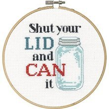 Dimensions Needlecrafts 70-74637 Say It Counted Cross Stitch Kit, Shut Your Lid -  say shut your lid counted cross stitch kit6 round 14