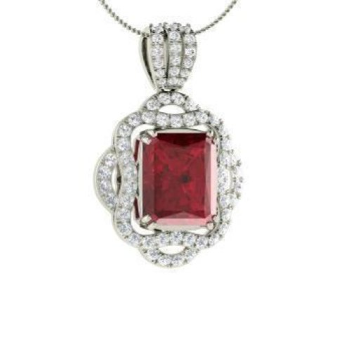 4.80 Carats Red Ruby With Diamonds Pendant Necklace 14K White Gold New