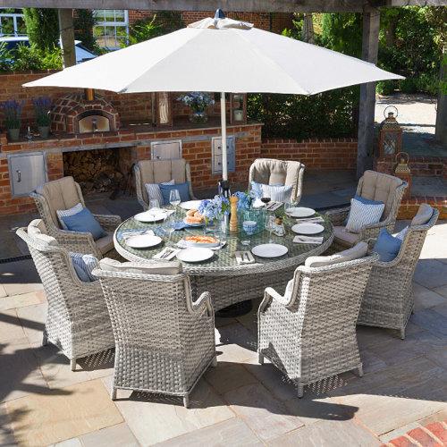 Nova Oyster Garden Furniture 8 Seat Rattan 1 8m Round Outdoor Patio Dining Set On