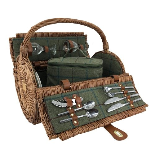 2 Person Green Tweed Barrel Wicker Picnic Basket
