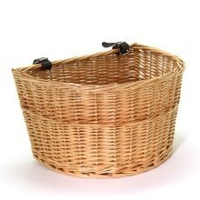 Vintage Style Willow Bicycle Basket with Faux Leather Straps