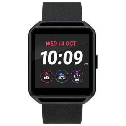Timex TW5M31200SO Black Square Touchscreen Watch, Black Silicone Strap