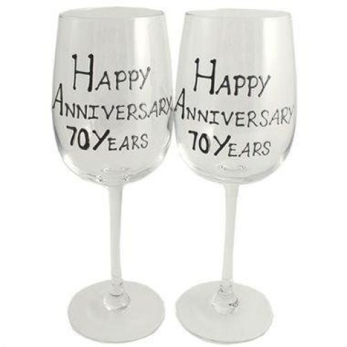 Wedding Anniversary Wine Glasses (Black/Silver)