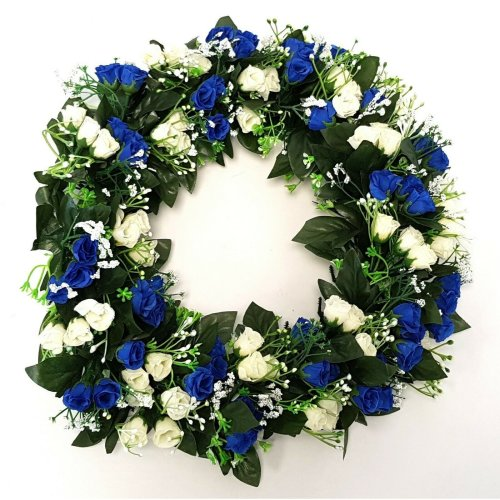 Artificial Blue & Ivory/Cream Rose and Gypsophila Wreath - 42cm - White & Blue