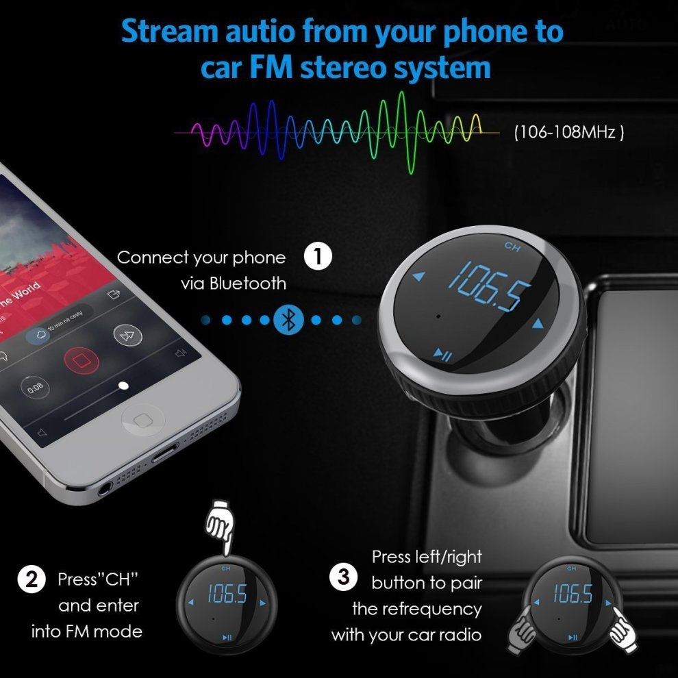 SIMCAST Car Bluetooth FM Transmitter Dual USB Wireless Car Charger