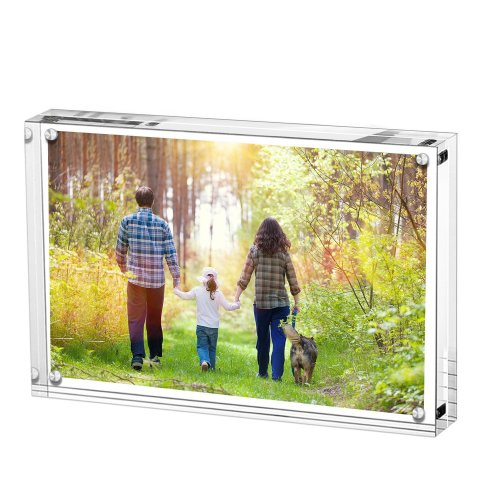 Acrylic Photo Frame, Stand with Magnets, Holds 4 X 6 Inches Pictures,10mm+10mm Thickness Transparent by Boxalls