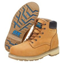 OX Pro Leather Safety Work Boots with Steel Toecap & Midsole Tan Honey (Sizes 7-12)