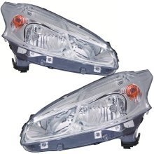 Peugeot 208 2012-2014 Headlights Headlamps Pair Left & Right