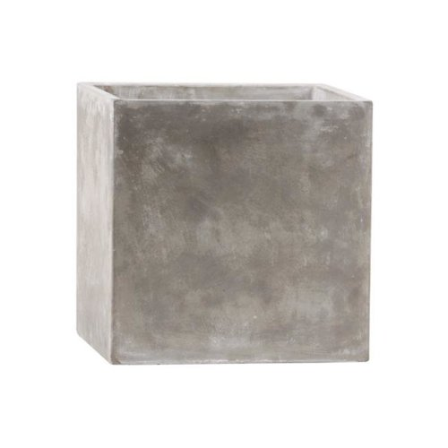 Urban Trends Collection 58000 Cement Square Pot with Smooth Design Body Natural Finish - Light Gray