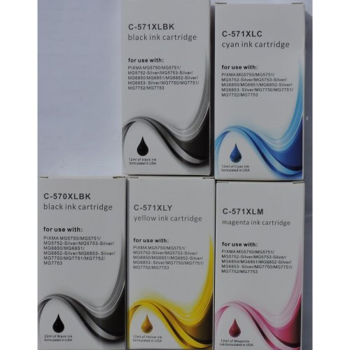 5 Non Oem XL Compatible Cartridges for MG5750, MG5753, MG6850, MG6853, MG7750,