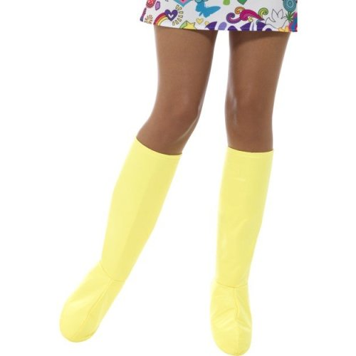 Yellow Gogo Boot Covers -  fancy dress 60s womens costume groovy ladies gogo boot covers hippy 1960s adult wig hippie 70s bootcovers retro accessory