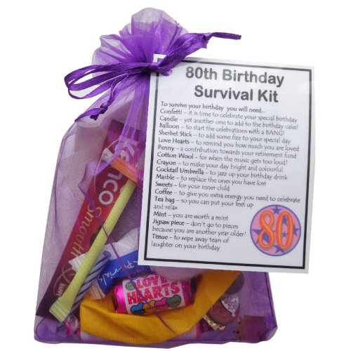 80th Birthday Survival Kit Gift Bag | Small Novelty Gift Set