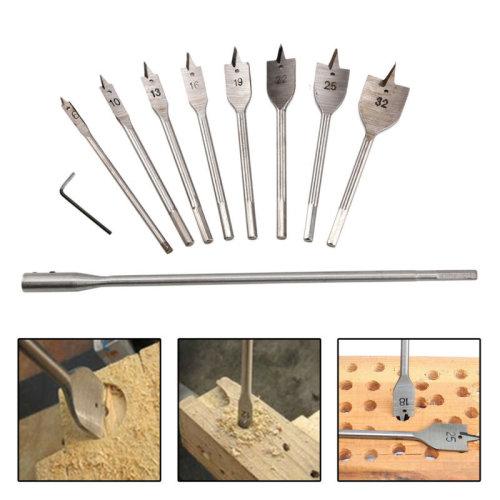 """10PC Wood Drill Bit Set Flat Spade 12"""" Extension Shank Hex Hole Cutting Borer ."""