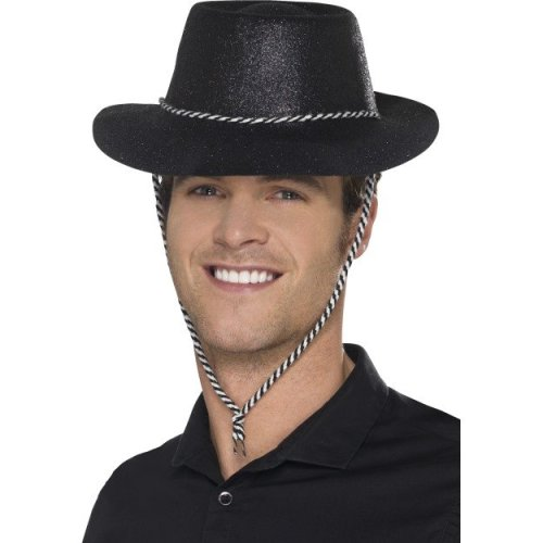 Smiffy s 21884 Cowboy Glitter Hat (one Size) - cowboy glitter hat fancy  dress ladies wild west cowgirl accessory smiffys costume historical black  on OnBuy d35487e9503f